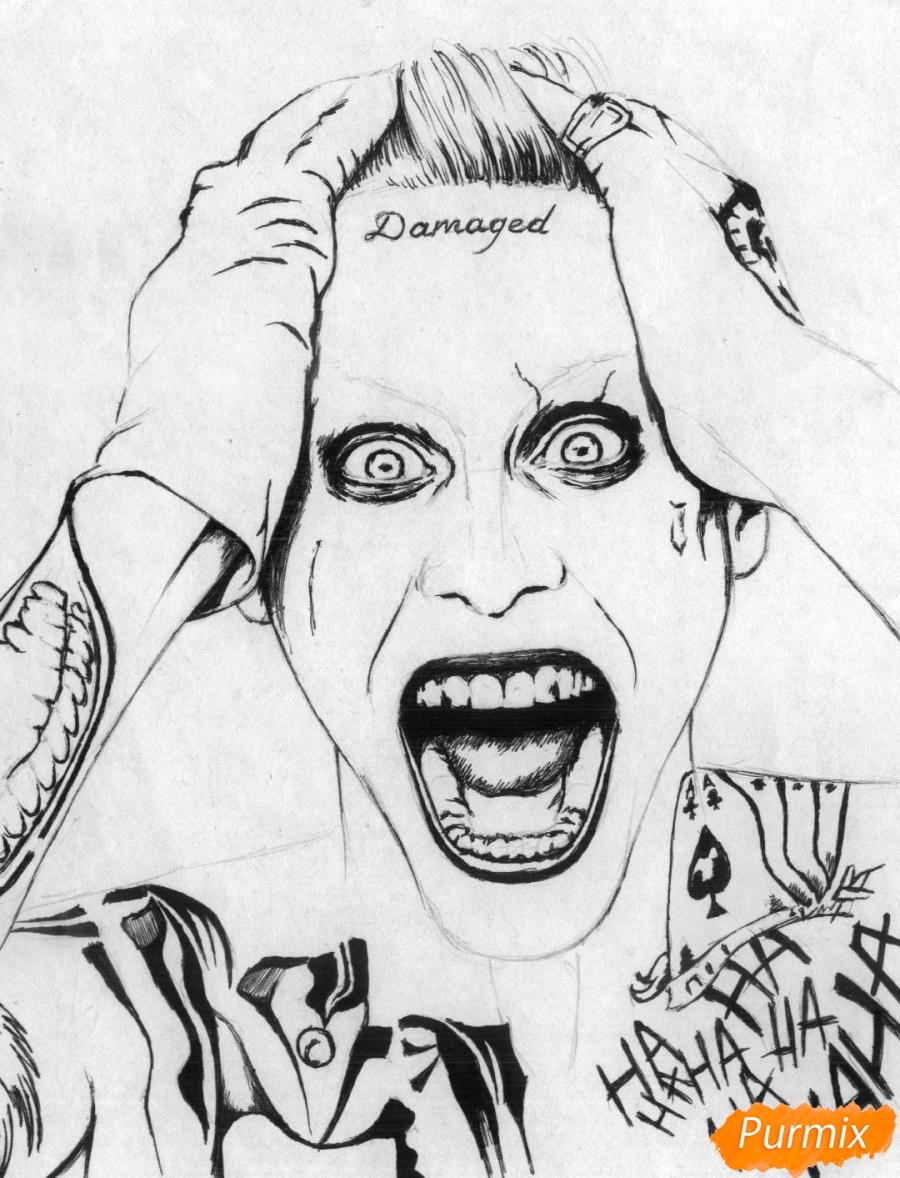 Рисуем Джокера из фильма Отряд самоубийц карандашами и ручкой - шаг 2