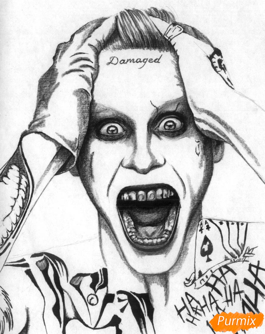 Рисуем Джокера из фильма Отряд самоубийц карандашами и ручкой - шаг 3