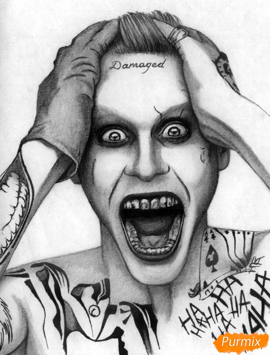 Рисуем Джокера из фильма Отряд самоубийц карандашами и ручкой - шаг 5