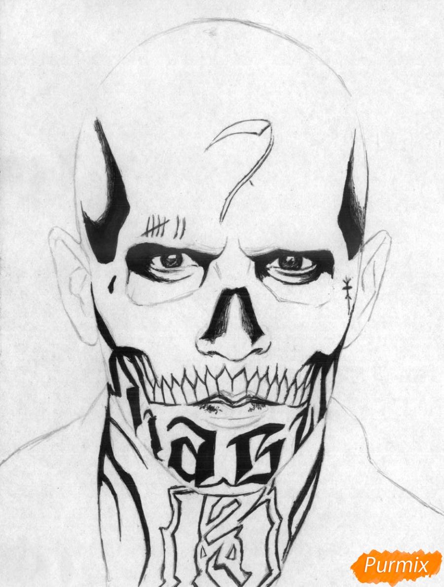 Рисуем Эль Диабло из фильма Отряд самоубийц  и ручкой - шаг 2