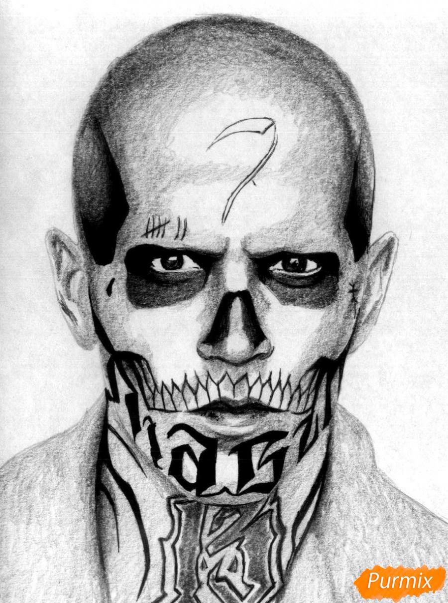 Рисуем Эль Диабло из фильма Отряд самоубийц  и ручкой - шаг 4