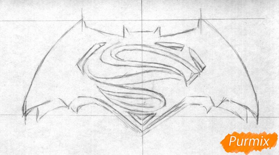 Рисуем логотип фильма Бэтмен против Супермена - шаг 1