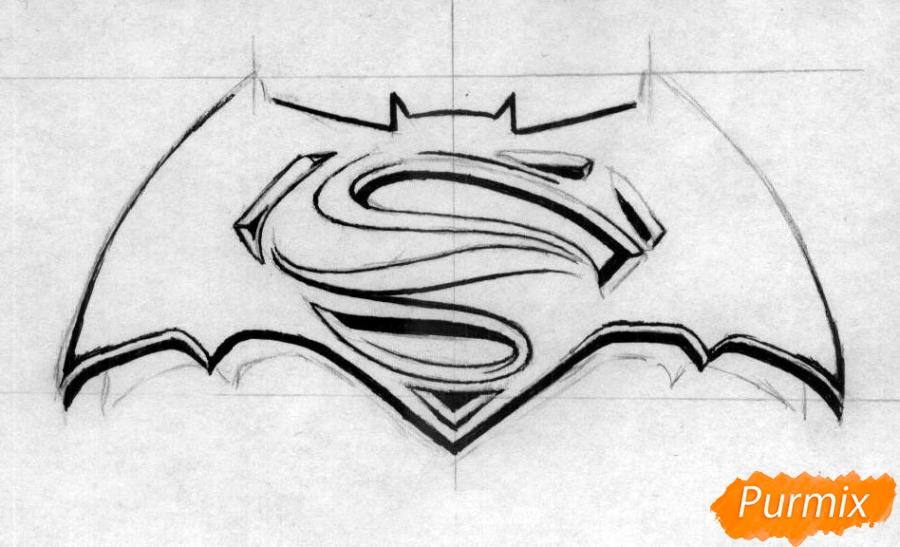 Рисуем логотип фильма Бэтмен против Супермена - шаг 2
