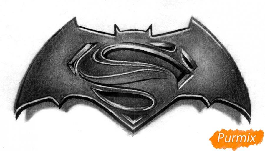 Рисуем логотип фильма Бэтмен против Супермена - шаг 5