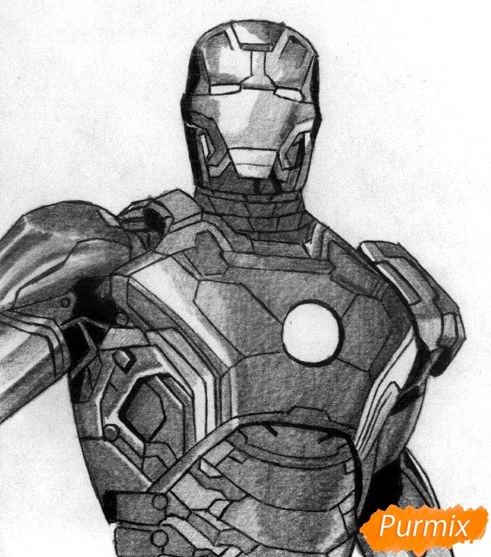 Рисуем железного человека  и ручкой - шаг 3