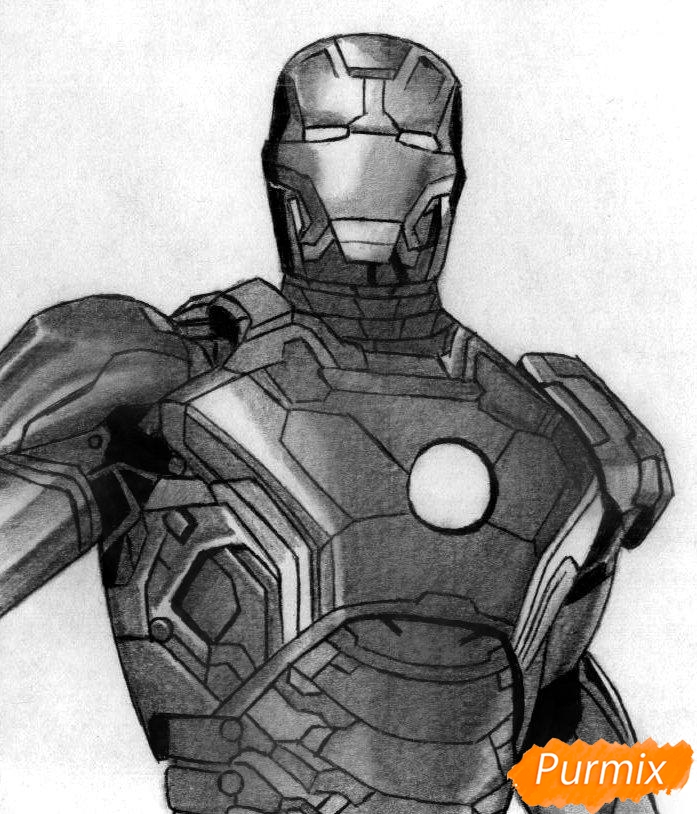 Рисуем железного человека  и ручкой - шаг 4