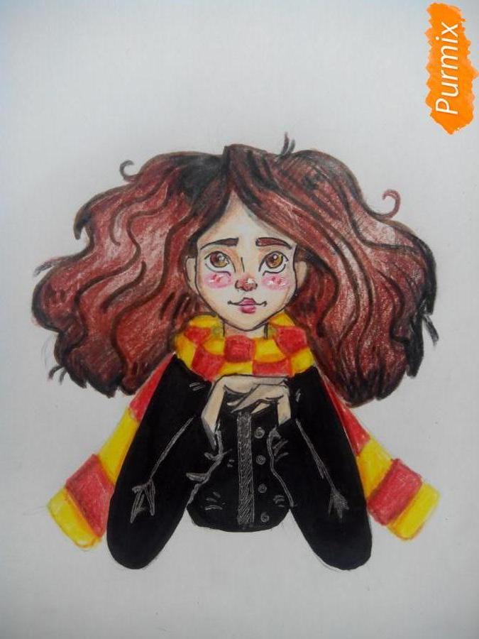 Рисуем портрет Гермионы Грейнджер - шаг 8