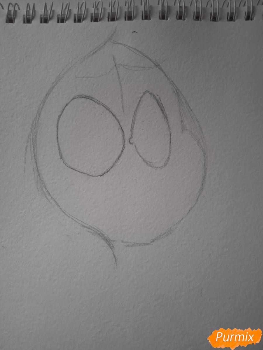 Рисуем простенький рисунок Человека Паука - шаг 2