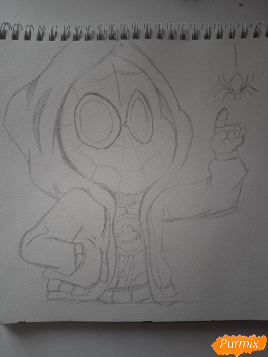 Рисуем простенький рисунок Человека Паука - шаг 4