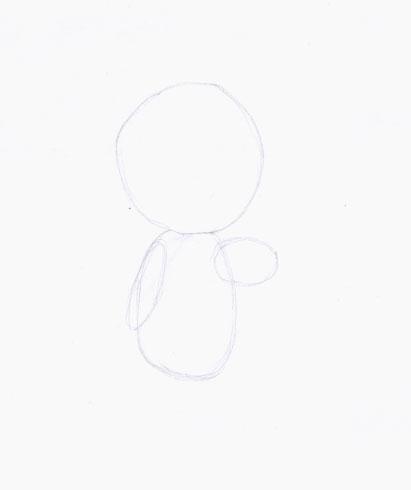 Рисуем Машу из мультфильма Маша и Медведь карандашами - шаг 1
