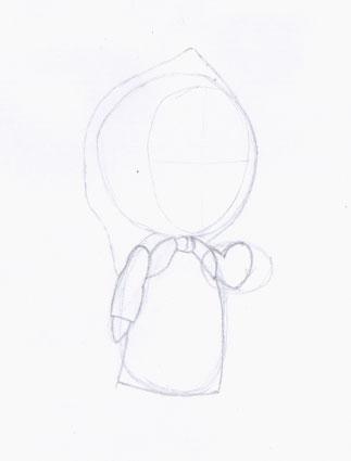 Рисуем Машу из мультфильма Маша и Медведь карандашами - шаг 2