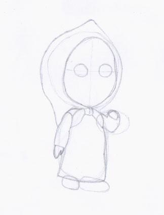 Рисуем Машу из мультфильма Маша и Медведь карандашами - шаг 3