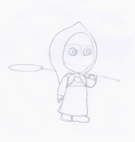 Рисуем Машу из мультфильма Маша и Медведь карандашами - шаг 4