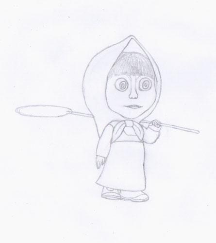 Рисуем Машу из мультфильма Маша и Медведь карандашами - шаг 5