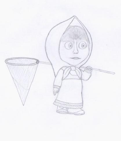 Рисуем Машу из мультфильма Маша и Медведь карандашами - шаг 6