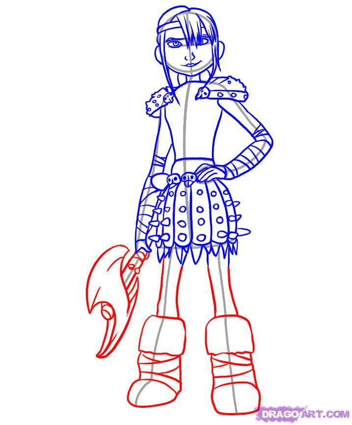 Рисуем Астрид из Как приручить дракона - шаг 5