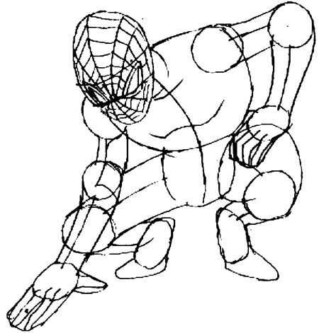 Рисуем человека паука для начинающих - шаг 6