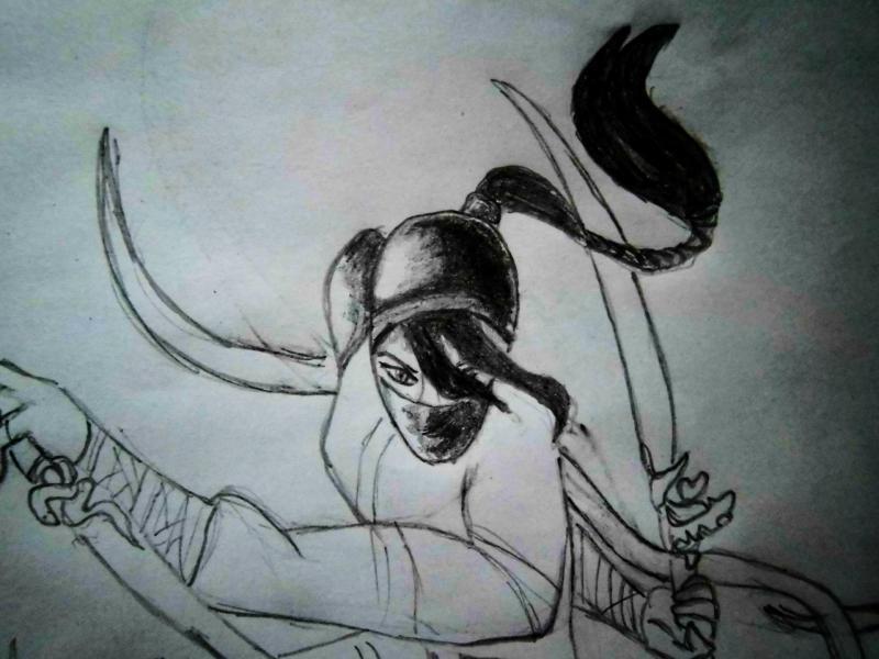 Рисуем девушку ниндзя в прыжке