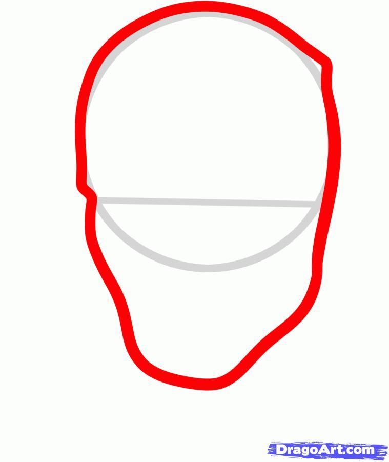 Рисуем голову Дэдпула - шаг 2