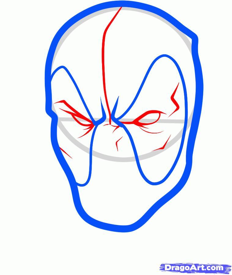 Рисуем голову Дэдпула - шаг 4
