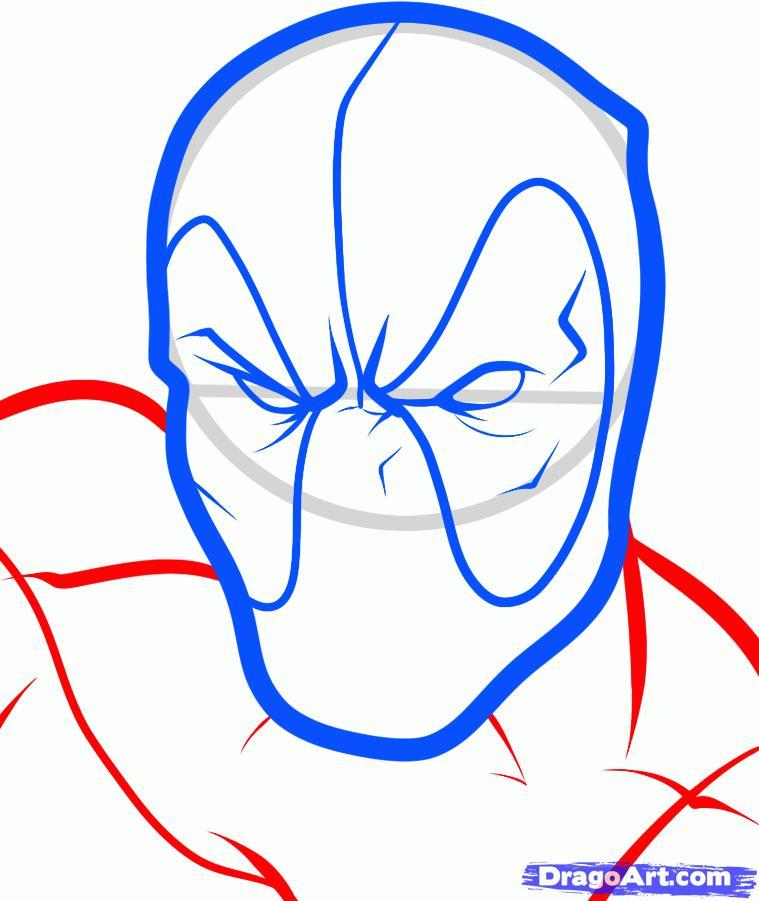 Рисуем голову Дэдпула - шаг 5