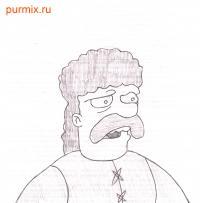 Джебедая Спрингфилда из Симпсонов карандашом