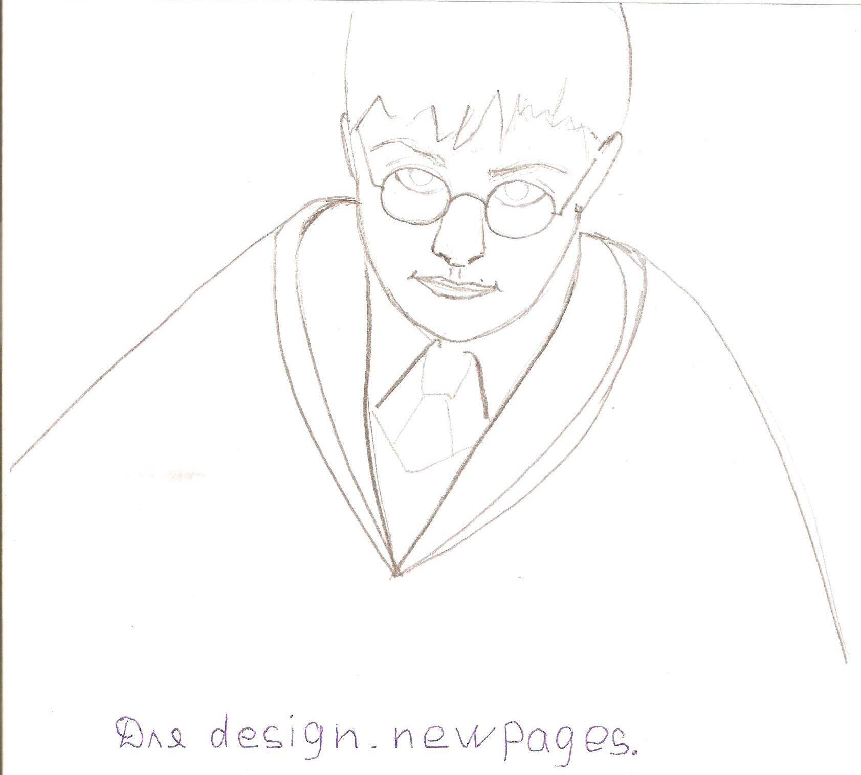 Рисуем Гарри Поттера - шаг 3