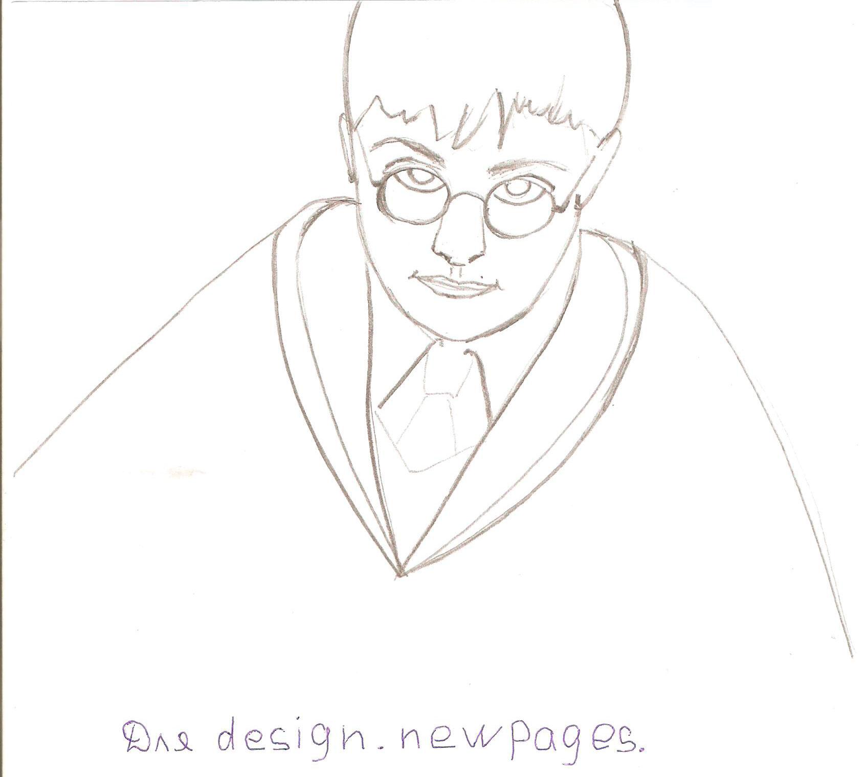 Рисуем Гарри Поттера - шаг 4