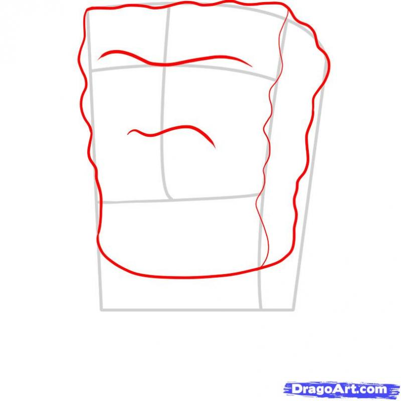 Рисуем Губку Боба гангстера - шаг 2