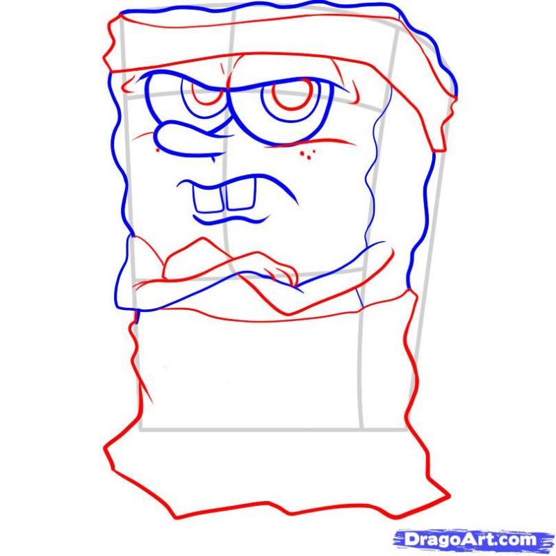 Рисуем Губку Боба гангстера - шаг 4