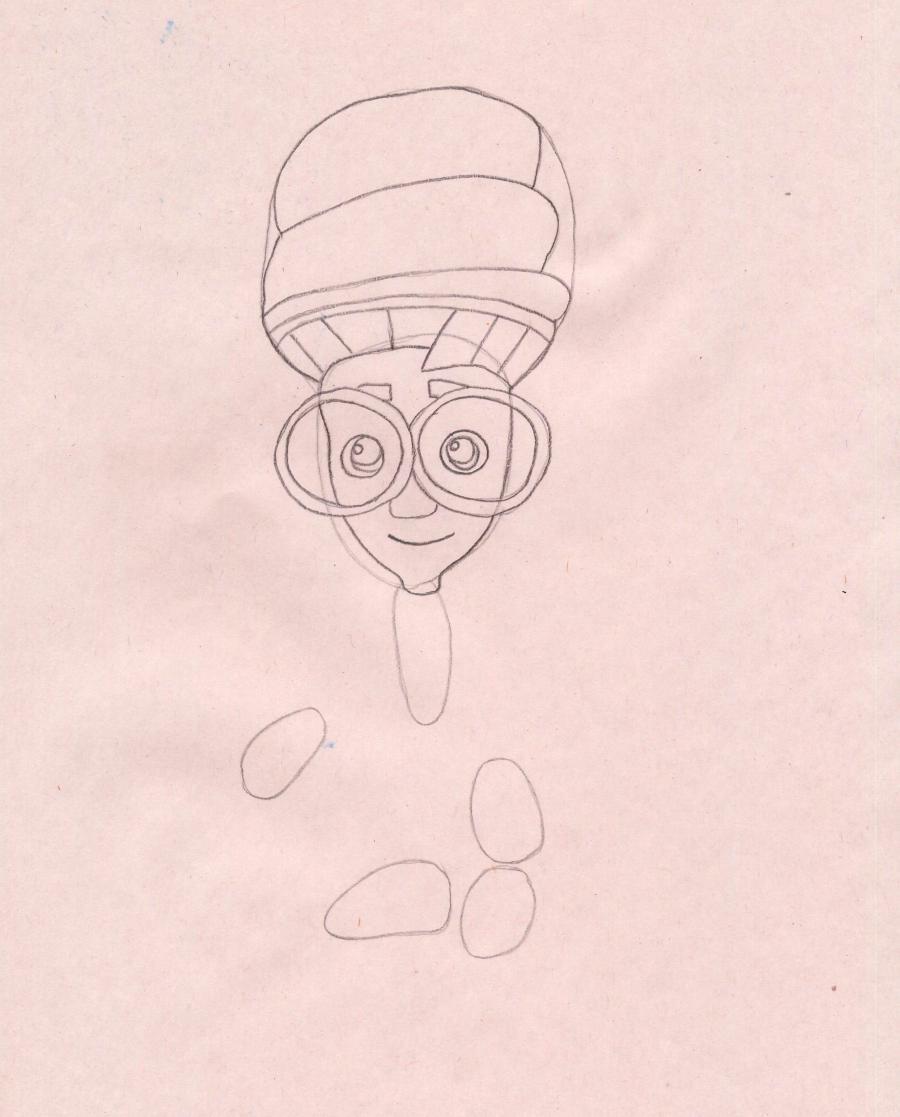 Рисуем Игрека из мультфильма Фиксики - шаг 2