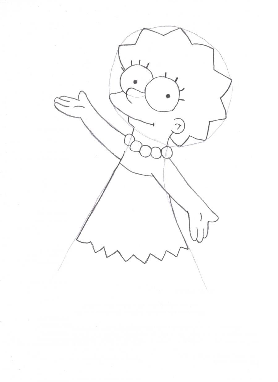 Рисуем Лизу Симпсон - шаг 3