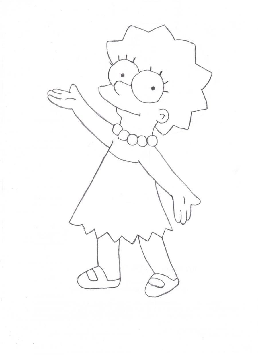 Рисуем Лизу Симпсон - шаг 4