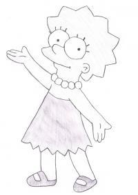 Лизу Симпсон карандашом