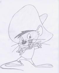 мышь Спиди Гонзалес из Веселые мелодии карандашом
