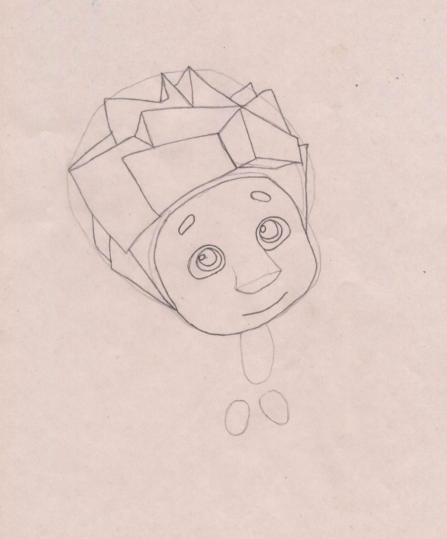Рисуем Нолика из Фиксиков - шаг 3