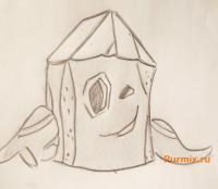 Пенёк из мультсериала Крутые бобры карандашом