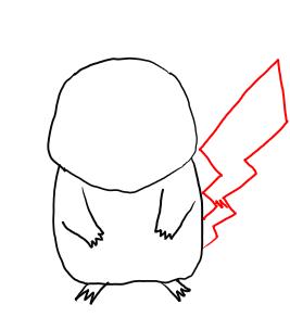Рисуем покемона Пикачу карандашами - шаг 3