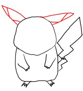 Рисуем покемона Пикачу карандашами - шаг 4