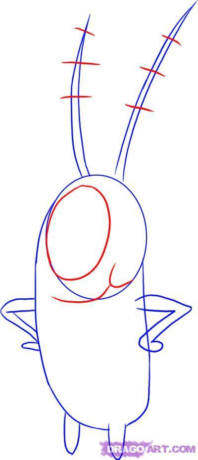 Рисуем Планктона Шелдона на бумаге
