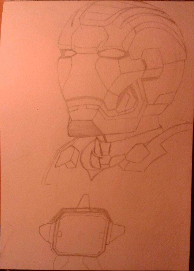Рисуем лицо железного человека - шаг 4