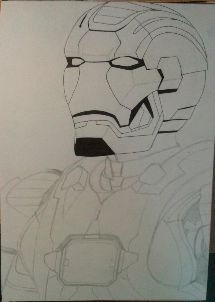 Рисуем лицо железного человека - шаг 7