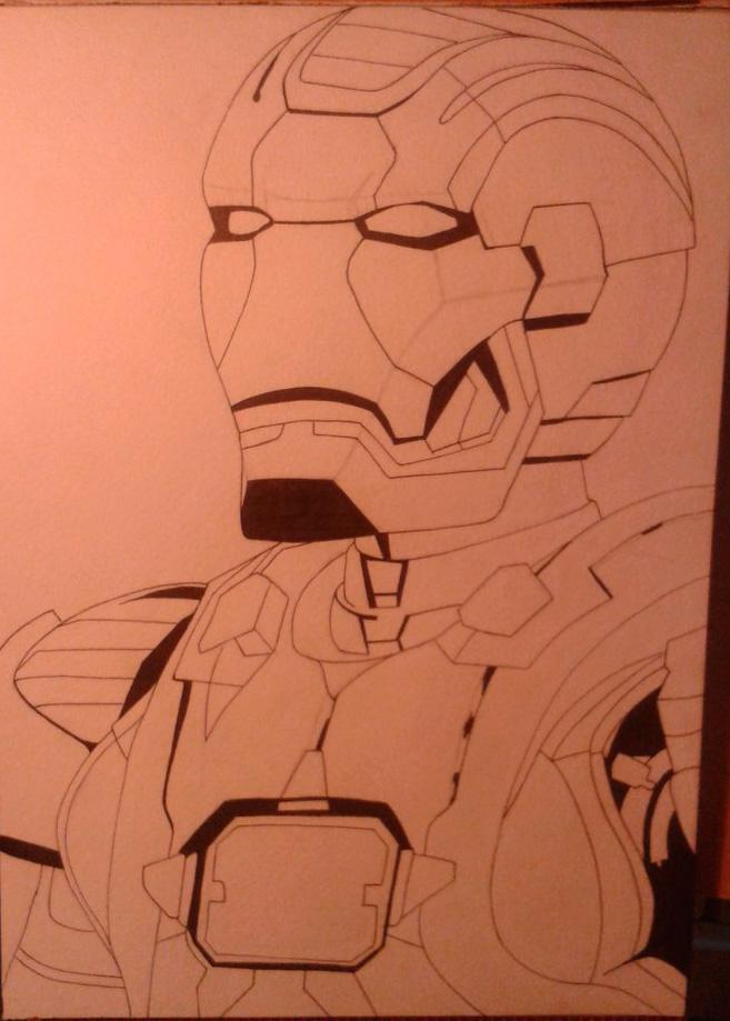 Рисуем лицо железного человека - шаг 8