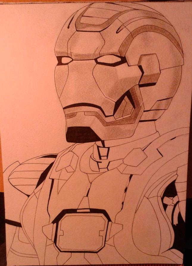 Рисуем лицо железного человека - шаг 9