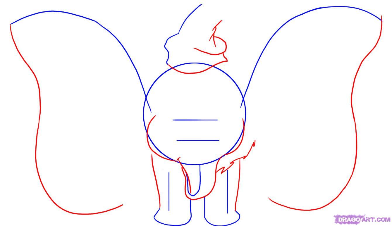 Рисуем слоненка Дамбо сидя  для начинающих - шаг 2