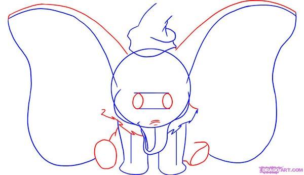 Рисуем слоненка Дамбо сидя  для начинающих - шаг 3