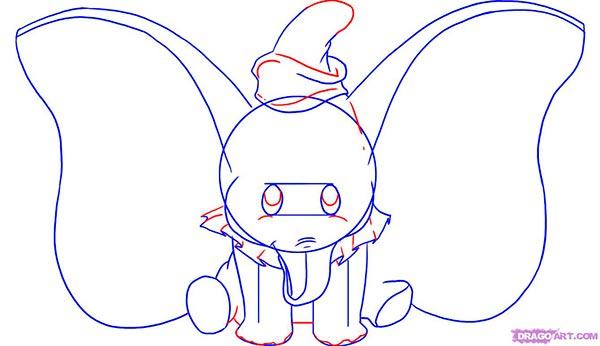 Рисуем слоненка Дамбо сидя  для начинающих - шаг 4
