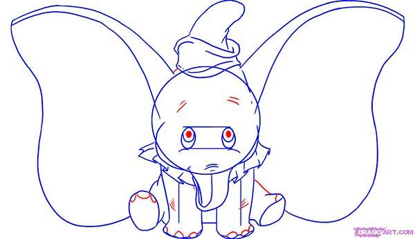 Рисуем слоненка Дамбо сидя  для начинающих - шаг 5