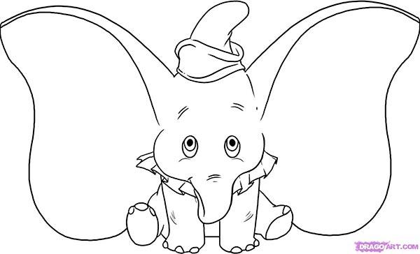 Рисуем слоненка Дамбо сидя  для начинающих - шаг 6