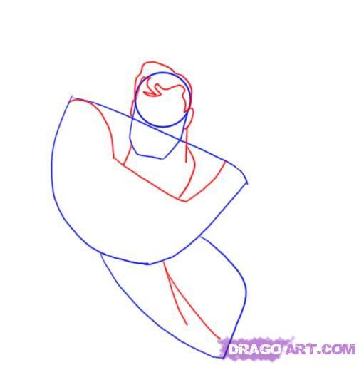 Учимся рисовать Супермена - шаг 3